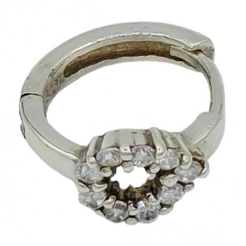 Charm de plata aro y circonita oval