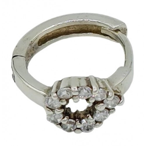 Charm silver hoop and oval zircon