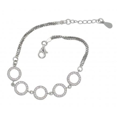Costume bracelet in metal in plated color and strass circles