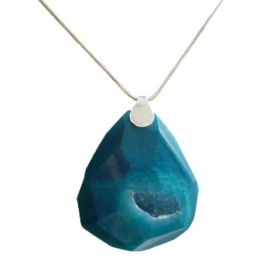 Colgante de piedra de ágata oval en azulón y plata