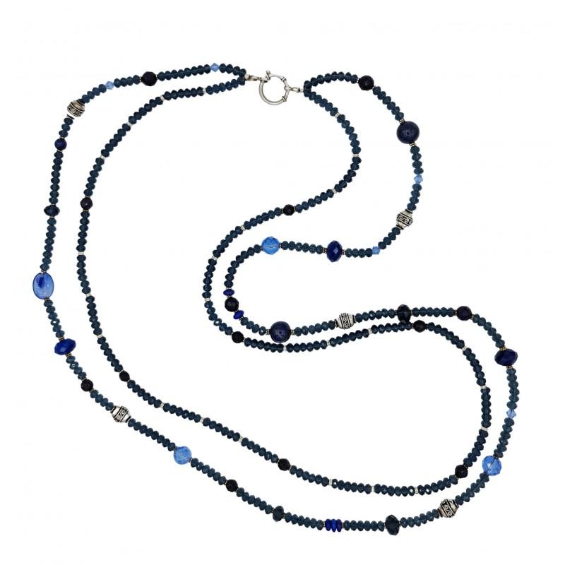 Collar largo de 2 vueltas de cristal azul y plata