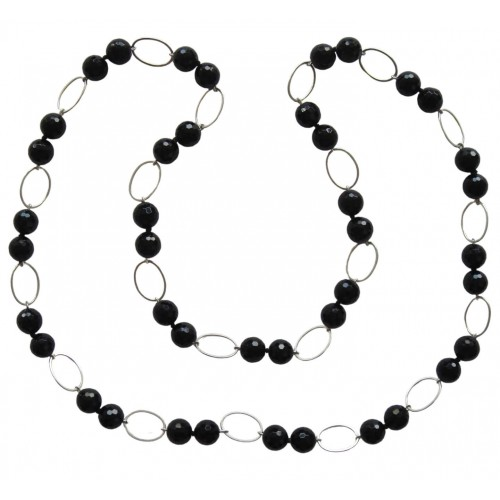 Necklace with matte onyx and hematite and silver round rings