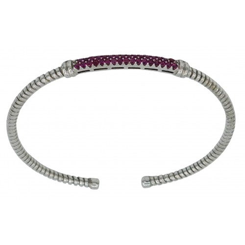 Bracelet rigid silver with red zircons