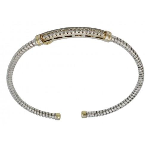 Bracelet rigid silver with red zircons