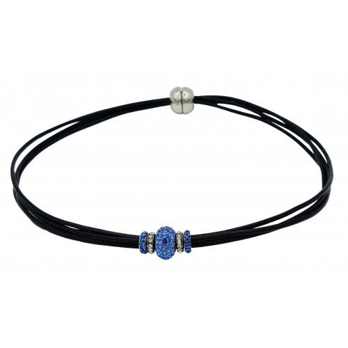 Gargantilla cuero negro y central cristal azul