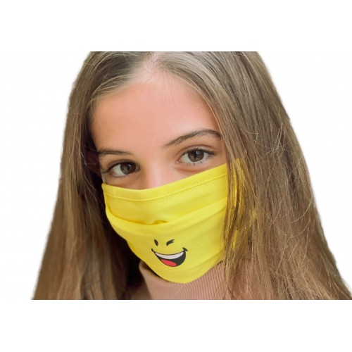Mascarilla Tela Reutilizable Infantil 50 Lavados Smiley gris-amarillo. 2 Unidades