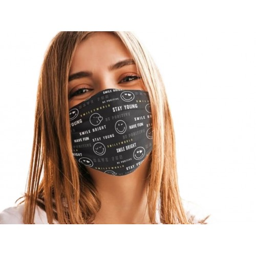 Mascarilla Tela Reutilizable Adulto 50 Lavados Smiley Positive Message. 2 unidades