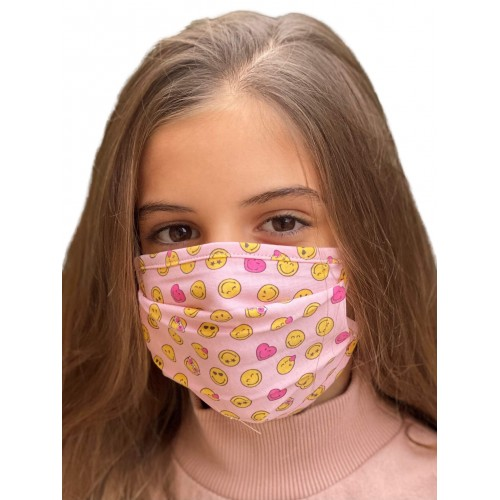 Mascarilla Tela Reutilizable Infantil 50 Lavados Smiley. Pink Play