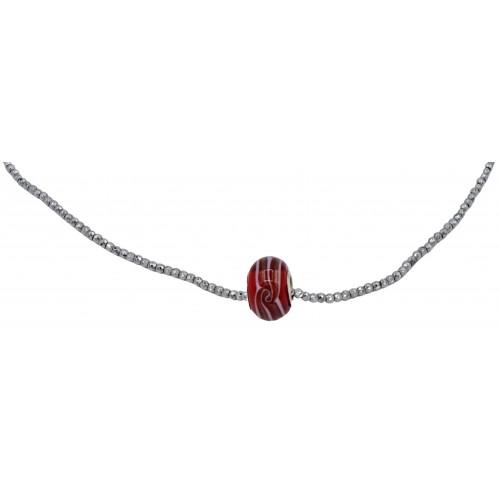 Collar cadena hematite negro y central cristal murano rojo