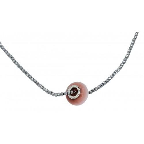 Collar cadena hematite plateado de 2mm y central ojo de gato rosa