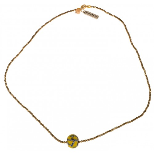 Necklace in golden faceted hematite and central yellow Murano glass