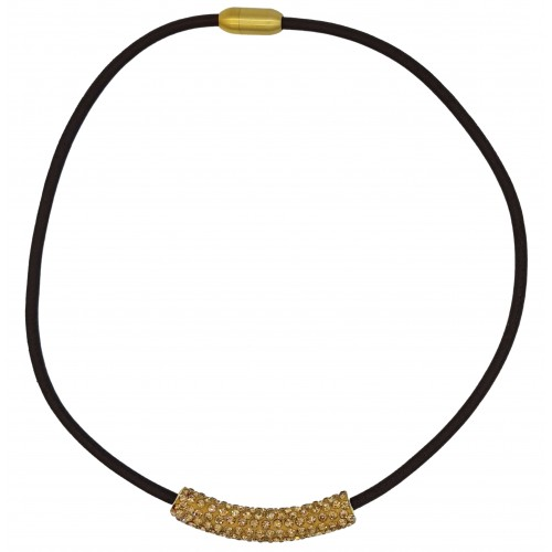 Gargantilla tubo strass dorado y cuero marrón
