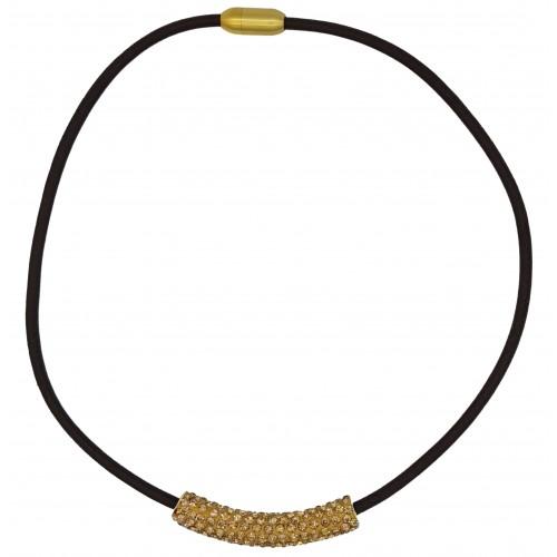 Gargantilla tubo de strass dorado y cuero marrón