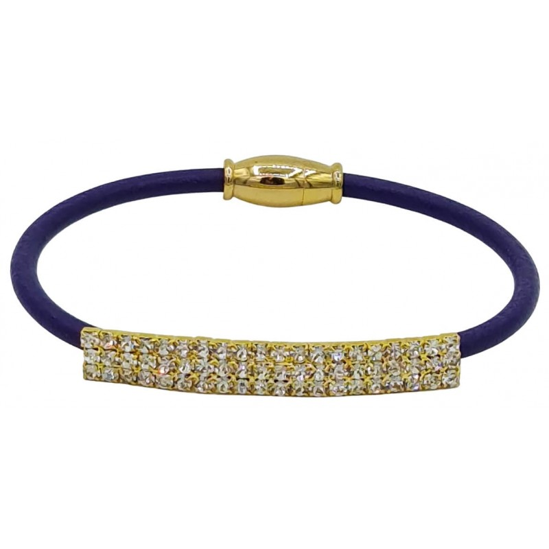Bracelet in brown leather and golden strass tube