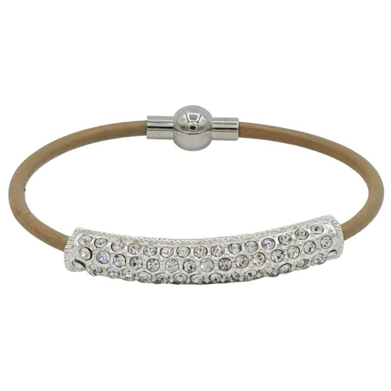 Leather beige bracelet rectangle golden tone Rhinestone tube crystal beads