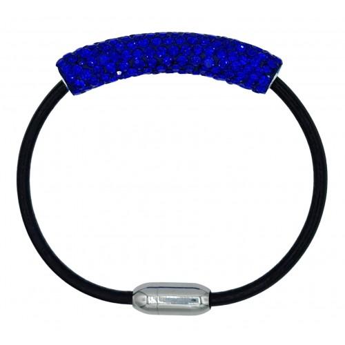 Pulsera tubo de strass azulón y cuero negro
