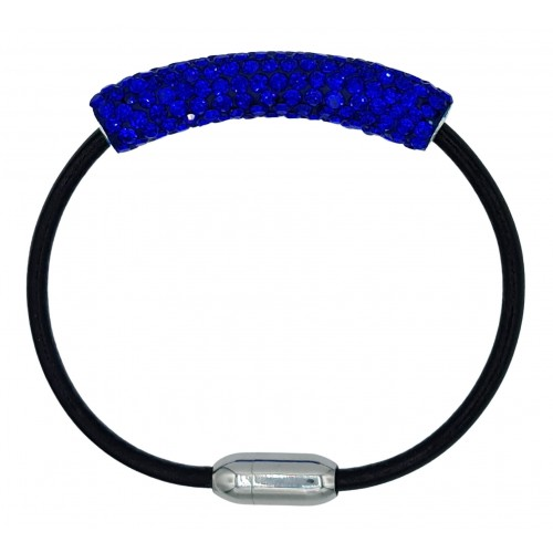 Bracelet in black leather and blue strass tube