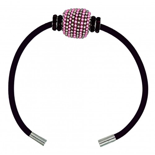 Bracelet in black leather and black strass tube