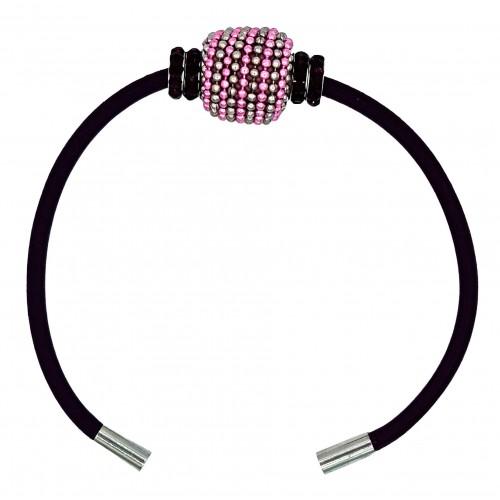 Pulsera de cuero burdeos con central metálico rosa y gris