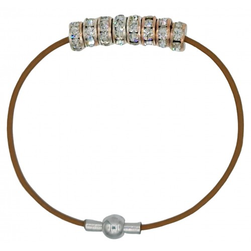 Bracelet in chocolate brown leather and central strass rondelles with rose gold color metal