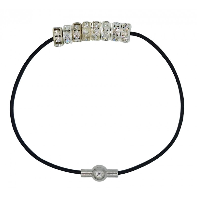 Bracelet in black leather and central white strass rondelles