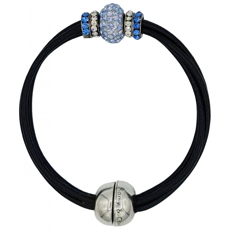 Bracelet in black leather and central blue fine crystal