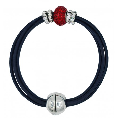 Bracelet in navy leather and central red fine crystal