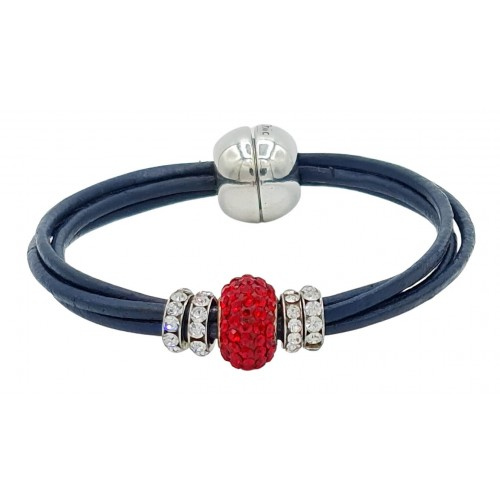 Pulsera central cristal rojo y cuero azul