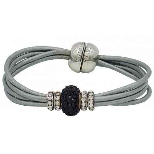 Bracelet in silver gray leather and central black fine crystal