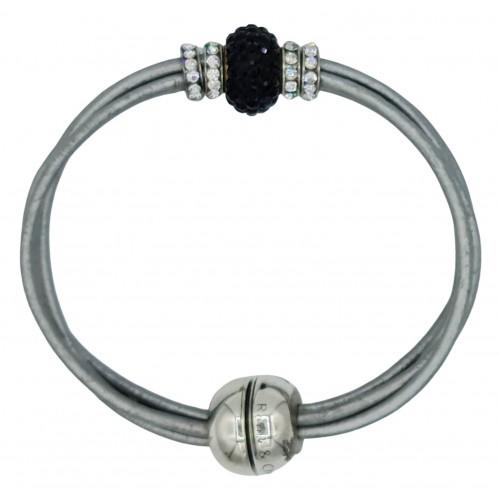 Pulsera central cristal negro y cuero gris metalizado