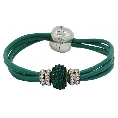 Pulsera central cristal verde y cuero verde