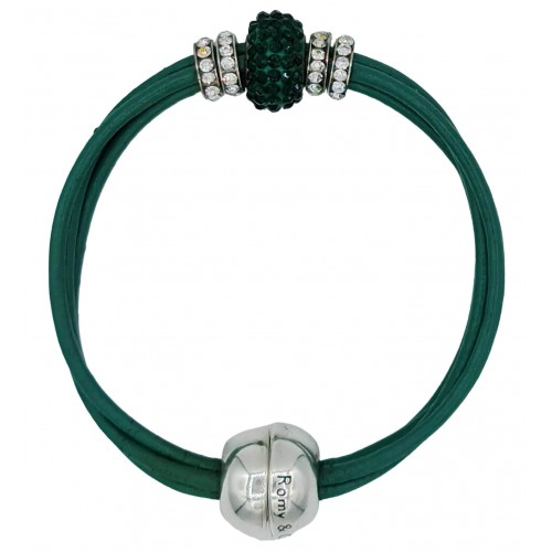 Bracelet in green leather and central green fine crystal