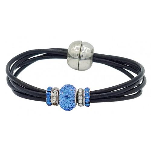Pulsera central cristal azul y cuero negro