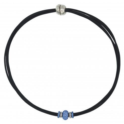 Chocker in black leather and central blue fine crystal