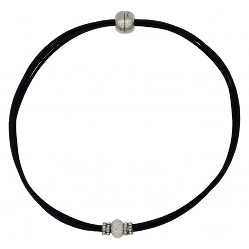 Chocker in black leather and central white fine crystal