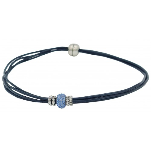 Chocker in navy leather and central blue fine crystal
