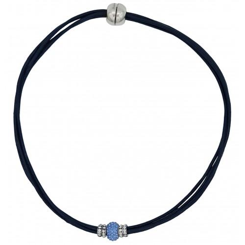 Gargantilla cuero azul marino y central cristal celeste