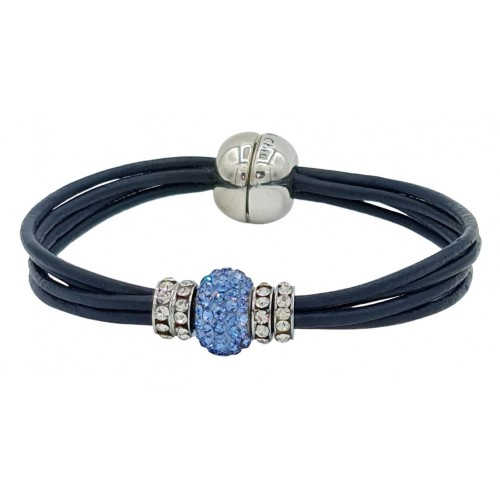 Bracelet in navy leather and central blue fine crystal