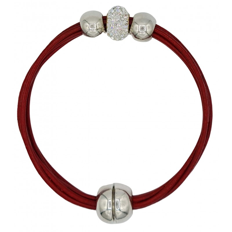 Bracelet in red leather and central white fine crystal and side balls