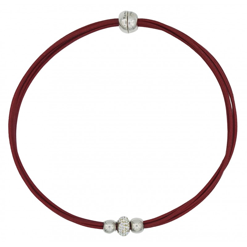Choker in red leather and central white fine crystal and side balls