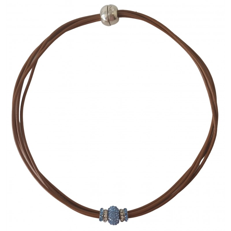 Chocker in camel leather and central blue fine crystal
