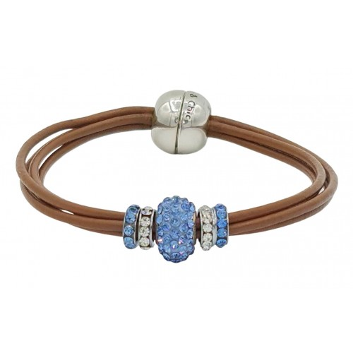 Bracelet in camel leather and central blue fine crystal