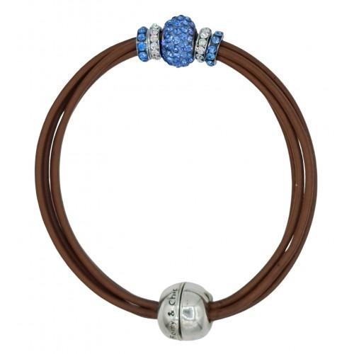 Pulsera central cristal azul  y cuero chocolate
