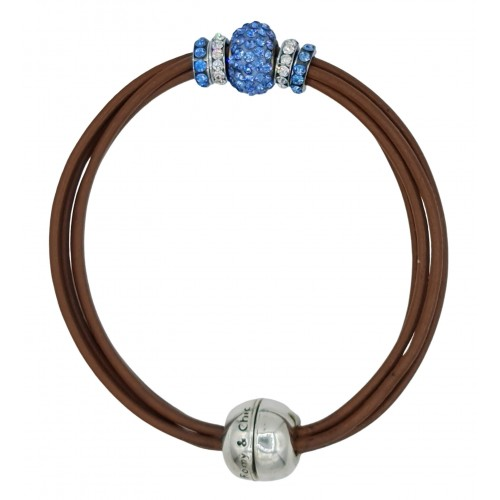 Pulsera central cristal azul y cuero chocolate