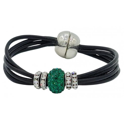 Bracelet in black leather and central green fine crystal