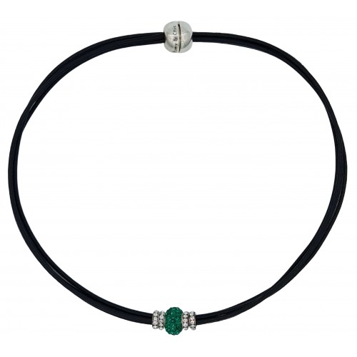 Chocker in black leather and central green fine crystal