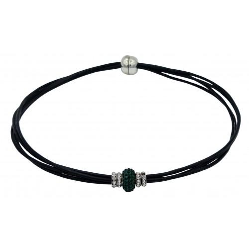Gargantilla cuero negro y central cristal verde