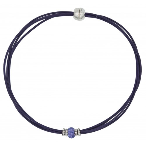 Chocker in purple leather and central purple fine crystal