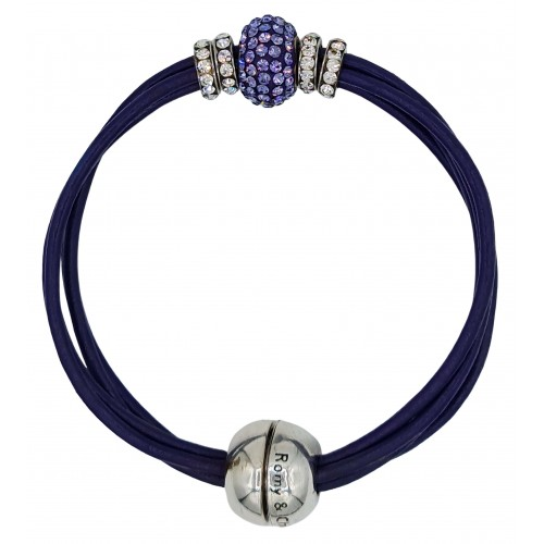 Bracelet in purple leather and central purple fine crystal
