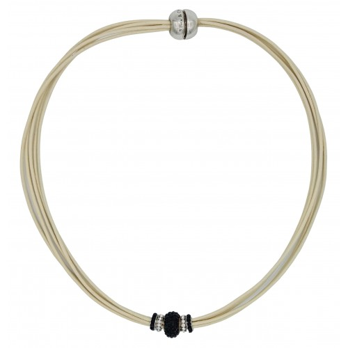 Chocker in cream leather and central black fine crystal